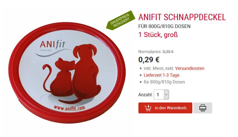 Hundefutter Schnappdeckel Anifit